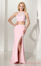 Blushing Pink Chiffon Trumpet/Mermaid Jewel Sleeveless Two Pieces Prom Dresses(JT4-LFDZC117)