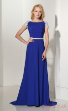 Light Royal Blue Satin A-line Bateau Short Sleeve Evening Dresses(JT4-LFDZC118)