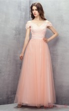 Pink Tulle Lace A-line Off The Shoulder Short Sleeve Evening Dresses(JT4-LFDZC143)