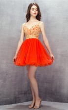 Orange Red Lace Tulle Sequined Princess Straps Sleeveless Cocktail Dress(JT4-LFDZD146)