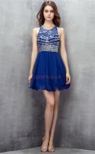 Light Royal Blue Tulle Sequined A-line Jewel Sleeveless Cocktail Dress(JT4-LFDZD152)
