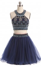 Navy Blue Tulle Sequined Princess Halter Sleeveless Two Piece Prom Dresses(JT4-LFDZD162)