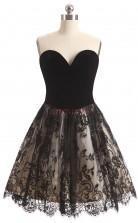 Black Lace Satin A-line Sweetheart Sleeveless Cocktail Dress(JT4-LFDZD164)