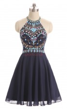 Navy Blue Chiffon A-line Halter Sleeveless Cocktail Dress(JT4-LFDZD165)