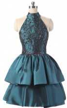 Ink Blue Taffeta Tulle Princess Halter Sleeveless Cocktail Dress(JT4-LFDZD178)