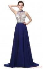 Royal Blue Chiffon A-line Illusion Jewel Sleeveless Prom Dresses(JT4-LG0272)