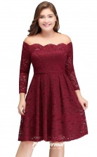 Burgundy Short/Mini Long Sleeve Off the shoulder Bridesmaid/Party Dresses PPBD009