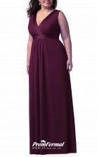 Grape Long  V-neck Bridesmaid/Party Dresses PPBD013