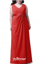Red Long  V-neck Bridesmaid/Party Dresses PPBD014