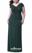 Deep Dark Green Long Short Sleeve V-neck Bridesmaid/Party Dresses PPBD015