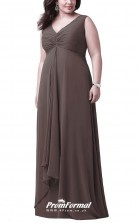 Brown Long  V-neck Bridesmaid/Party Dresses PPBD016