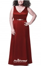 Burgundy Long  V-neck Bridesmaid/Party Dresses PPBD017