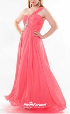 Pink Long  One Shoulder Bridesmaid/Party Dresses PPBD019