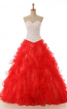 Red Organza Satin Ball Gown Sweetheart Sleeveless Prom Ball Gowns(JT4-PPQ02)