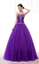 Purple Tulle Ball Gown Sweetheart Sleeveless Prom Ball Gowns(JT4-PPQ0011)