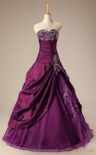 Grape Taffeta Organza Ball Gown Sweetheart Sleeveless Prom Ball Gowns(JT4-PPQ0026)