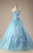 Sky Blue Organza Satin Ball Gown Sweetheart Sleeveless Prom Ball Gowns(JT4-PPQ0029)