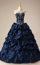 Navy Blue Taffeta Ball Gown Sweetheart Sleeveless Prom Ball Gowns(JT4-PPQ0031)