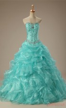 Blue Satin Organza Ball Gown Sweetheart Sleeveless Prom Ball Gowns(JT4-PPQ133)