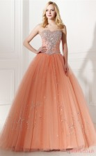 Pink Tulle Taffeta Ball Gown Sweetheart Sleeveless Prom Ball Gowns(JT4-0646)