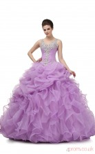 Lilac Organza Taffeta Ball Gown Straps Sweetheart Sleeveless Prom Ball Gowns(JT4-PPQDZ004)
