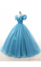 Blue Taffeta Tulle Ball Gown Off The Shoulder Sleeveless Prom Ball Gowns(JT4-PPQDZ015)