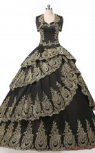 Black Taffeta Ball Gown Sweetheart Short Sleeve Two Pieces Prom Ball Gowns(JT4-PPQDZ100)