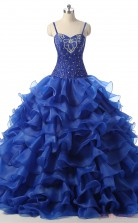 Blue Satin Organza Ball Gown Straps Sleeveless Prom Ball Gowns(JT4-PPQDZ103)