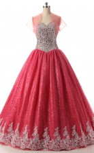 Red Tulle Satin Ball Gown Straps Sweetheart Short Sleeve Two Pieces Prom Ball Gowns(JT4-PPQDZ105)