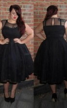 Black Organza A-line Illusion Short Sleeve Tea-length Plus Size Prom Dress(PRPSD04-100)