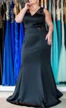 Black Stretch Satin Trumpet/Mermaid V-neck Sleeveless Floor-length Plus Size Prom Dress(PRPSD04-110)