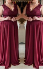 Dark Burgundy Chiffon A-line V-neck Sleeveless Floor-length Plus Size Prom Dress(PRPSD04-113)