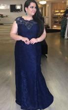 Navy Blue Lace Trumpet/Mermaid Scalloped Short Sleeve Floor-length Plus Size Prom Dress(PRPSD04-115)