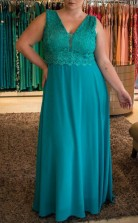Turquoise Chiffon Lace Sheath/Column V-neck Sleeveless Floor-length Plus Size Prom Dress(PRPSD04-116)