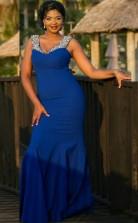 Blue Spandex Trumpet/Mermaid V-neck Sleeveless Floor-length Plus Size Prom Dress(PRPSD04-117)