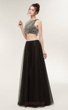 Two Piece A-line Black Tulle Bateau Neck Long Prom Dresses XH-S643
