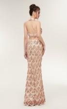 Mermaid Champange Sequined Halter Long Prom Dresses XH-S644