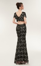 Two Piece Mermaid Black Sequined V-neck Short Sleeve Long Prom Dresses XH-S645