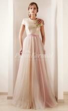 Tulle Jewel Short Sleeve A-line Celebrity Dress(PROSCD04-825)