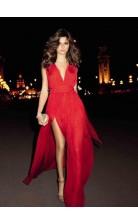 Chiffon V-neck Sleeveless A-line Celebrity Dress(PROSCD04-827)