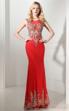 Red Satin Tulle Trumpet/Mermaid Jewel Sleeveless Prom Dresses(JT4-0641)