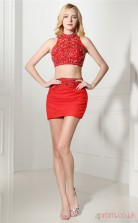 Red Chiffon Tulle Sheath/Column Halter Sleeveless Two Piece Prom Dresses(JT4-06414)