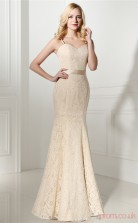 Light Champange Taffeta Lace Trumpet/Mermaid Bateau Sleeveless Prom Dresses(JT4-0645)