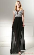 Black Lace Chiffon A-line Bateau Short Sleeve Prom Dresses(JT4-0648)