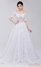 White Lace A-line Off The Shoulder Short Sleeve Prom Dresses(JT4-28410)