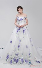 Ivory Organza A-line Off The Shoulder Short Sleeve Prom Dresses(JT4-3003)