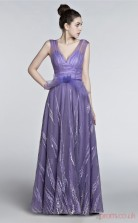 Purple Lace A-line V-neck Short Sleeve Prom Dresses(JT4-3004)