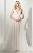 Ivory Lace Chiffon Taffeta A-line Scalloped V-neck Sleeveless Evening Dresses(JT4-06410)