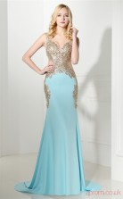 Light Sky Blue Taffeta Trumpet/Mermaid V-neck Sleeveless Prom Dresses(JT4-06413)