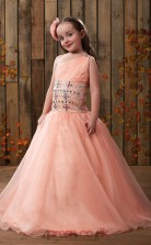 Pink One shoulder Beading Kids Prom Dress ACH002